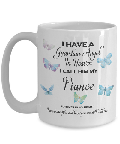 Image of Guardian Angel in Heaven I Call Him My Fiance Butterflies Memory Ceramic Coffee Cup