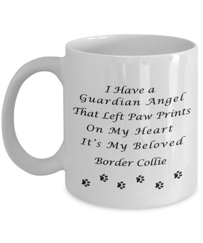 Image of Border Collie Memorial Gift  Guardian Angel That Left Paw Prints Border Collie Pet Remembrance Gifts