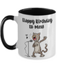 Happy Birthday to Mew Singing Cat Mug Ceramic Two Tone Coffee Cup