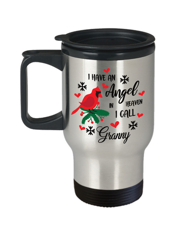 Granny Angel in Heaven Cardinal Travel Mug Gift In Loving Memory Coffee Cup