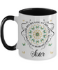 Sister In Loving Memory Mug Memorial Turquoise Butterfly Mandala God Holds You in His Arms Mandala Two-Tone Cup