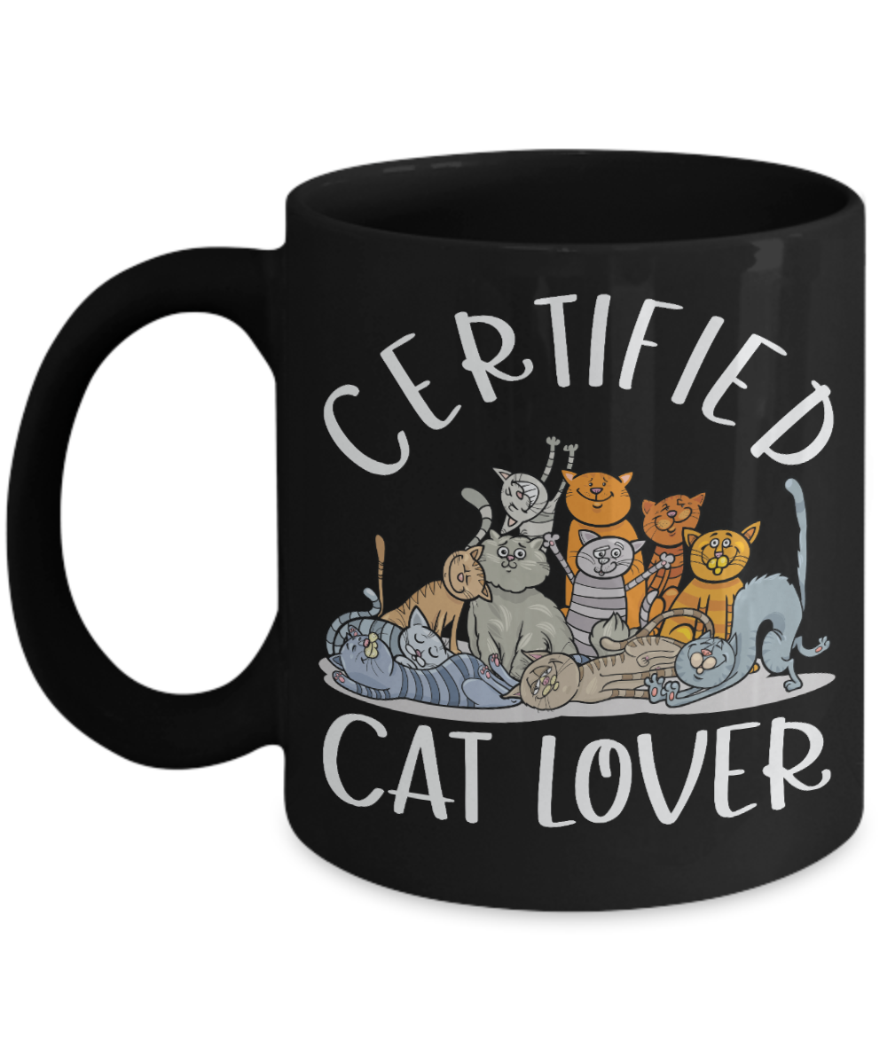 Certified Cat Lover Black Mug Gift Funny Moggy Mom Dad Novelty birthday Cup