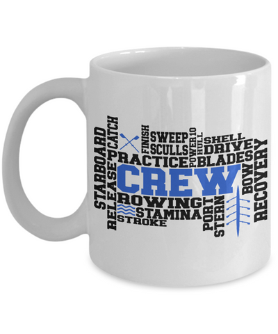 Crew Word Art Mug Gift for Men or Women Rowing Stamina Practice Team Novelty Birthday Ceramic Coffee Cup