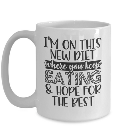 Image of Funny Novelty Mug I'm New On This Diet Birthday Christmas Gift Ceramic Coffee Cup