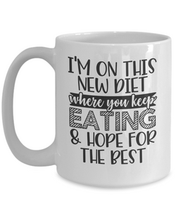 Funny Novelty Mug I'm New On This Diet Birthday Christmas Gift Ceramic Coffee Cup