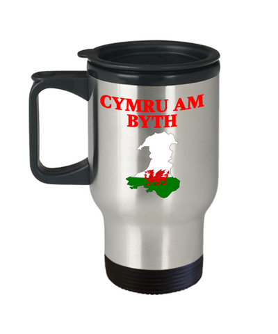 Cymru Am Byth Travel Mug With Lid Wales Forever Welsh National Pride Novelty Birthday Gift 14oz Coffee Cup