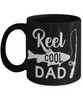 Reel Cool Dad Fishing Black Mug Gift For Fisher Father Novelty Coffee Cup