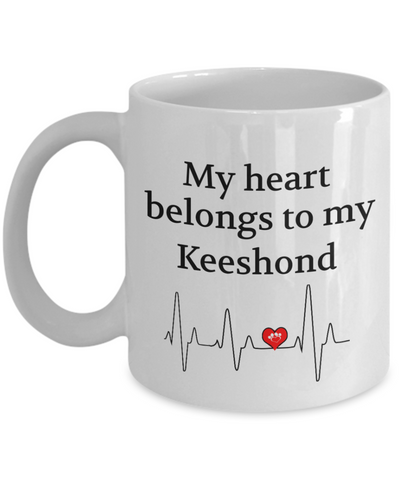 Image of My Heart Belongs to a Keeshond Mug Dog Lover Novelty Birthday Gifts Ceramic Cup