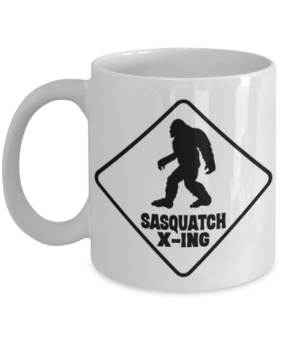 Image of Funny Sasquatch X-ing Mug Big Foot Crossing Coffee Ceramic Cup Gift for Bigfoot Hunters