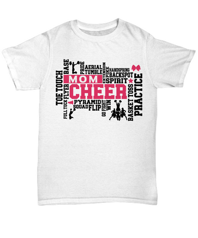 Cheer Mom Word Art T-Shirt Gift For Women Cheerleader Practice Flip Aerial Squad Novelty Birthday Shirt