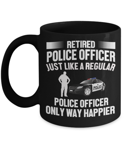 Happy Retired Police Officer Black Mug Retirement Appreciation Gifts Novelty Birthday Cup