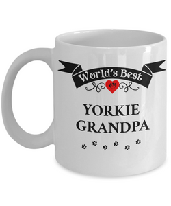 World's Best Yorkie Grandpa Cup Unique Yorkshire Terrier  Dog Coffee Mug Gifts for Men