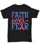 Faith Over Fear Breast Cancer Awareness Black Shirt Gift Hope Courage Strength Support Gift Novelty Birthday Unisex T-Shirt