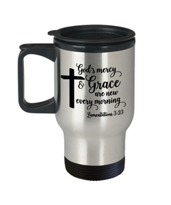 Lamentations 3:23 Bible Verse Faith Travel Mug With Lid God's Mercy and Grace are New Every Morning Christian Novelty Birthday Gifts Best Scripture Verse Quote Gifts Coffee Cup