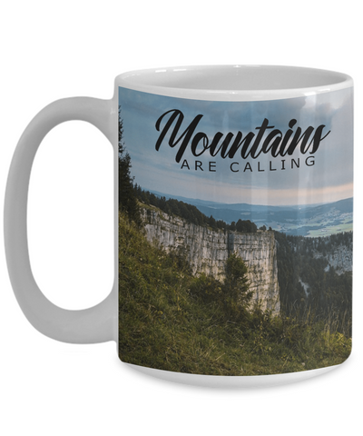 Image of Mountains Are Calling Coffee Mug for Campers Hikers Outdoor Enthusiasts