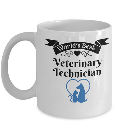 Image of World's Best Veterinary Technician Mug for Vet Tech Unique Novelty Birthday Christmas Gifts Ceramic Coffee Cup for Men Women