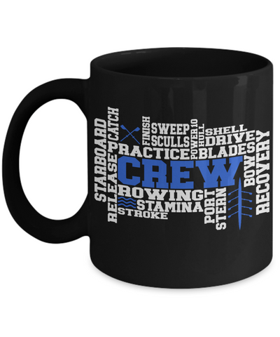Crew Word Art Black Mug Gift for Men or Women Rowing Stamina Practice Team Novelty Birthday Ceramic Coffee Cup