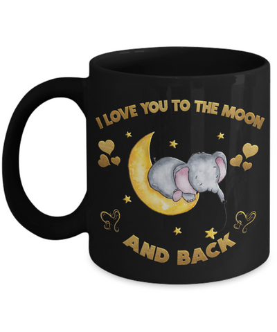 Image of I Love You to the Moon and Back Elephant Black Mug Gift Love You Surprise Valentine's Day Cup