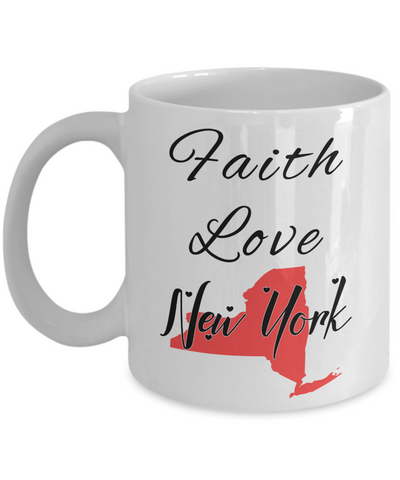 Image of Patriotic USA Gift Mug Faith Love New York Unique Novelty Birthday Christmas Ceramic Coffee Tea Cup