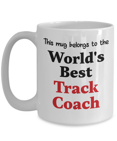Image of World's Best Track Coach Mug Occupational Gift Novelty Birthday Thank You Appreciation Ceramic Coff