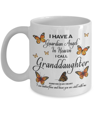 Granddaughter In Loving Memory Mug Guardian Angel in Heaven Monarch Butterfly Gift Memorial Ceramic Coffee Cup