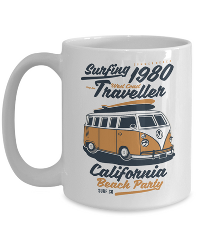 Image of Surf Cup Vintage Volkswagon Camper Van Bus Traveler West Coast Volkswagen Unique Mugs