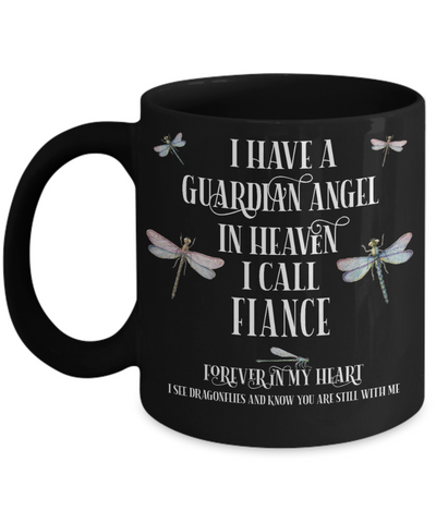 Fiance Dragonfly Memorial Black Mug Gift Guardian Angel In Loving Memory Keepsake Cup