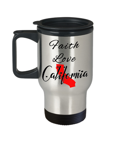 Image of Patriotic USA Gift Travel Mug With Lid Faith Love California Unique Novelty Birthday Christmas Ceramic Coffee Tea Cup