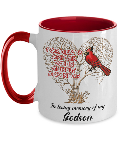 Image of Godson Cardinal Memorial Coffee Mug Angels Appear Keepsake Two-Tone Cup