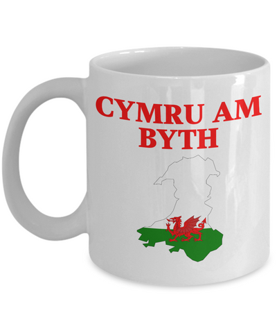 Cymru Am Byth Mug Wales Forever Welsh National Pride Novelty Birthday Gift Ceramic Coffee Cup
