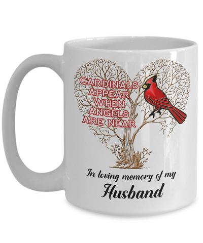 Image of Husband Cardinal Memorial Coffee Mug Angels Appear Keepsake