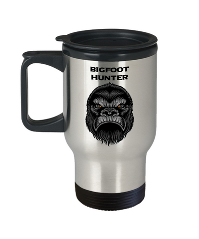 Image of Bigfoot Hunter Coffee Travel Mug Big Foot Monster Squatcin' Camping Gear Gifts Coffee Cup