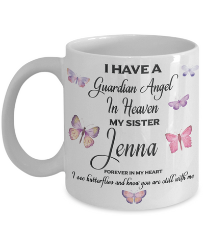 Image of Jenna Guardian Angel Sister Butterfly Coffee Mug Gift Mourning Remembrance Sympathy Cup