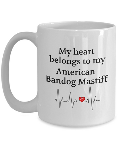 My Heart Belongs to My American Bandog Mastiff Mug Dog Lover Novelty Birthday Gifts Unique Work Ceramic Coffee Gifts for Men Women