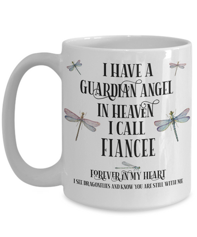 Fiancee Dragonfly Memorial Mug Gift Guardian Angel In Loving Memory Keepsake Cup