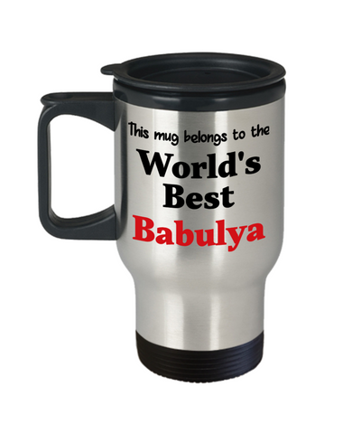 World's Best Babulya Family Insulated Travel Mug With Lid Ukrainian Grandmother Gift Novelty Birthday Thank You Appreciation Coffee Cup