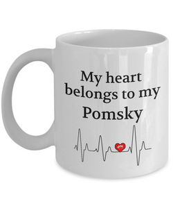 My Heart Belongs to My Pomsky Mug Dog Lover Novelty Birthday Gifts Unique Work Ceramic Coffee Cup Gifts for Men Women