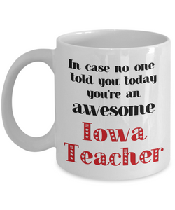 Iowa Teacher Occupation Mug In Case No One Told You Today You're Awesome Unique Novelty Appreciation Gifts Ceramic Coffee Cup