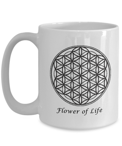 Image of Sacred Geometry Mug Gifts Flower of Life Ceramic Coffee Cup