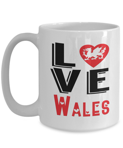 Image of Love Wales Mug Gift Novelty Welsh Keepsake Coffee Cup
