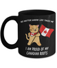 Proud Canadian Roots Cat Canada Flag Black Mug Gift No Matter Where Life Takes Me Novelty Cup