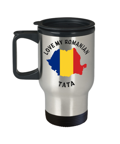 Love My Romanian Tata Travel Mug With Lid Novelty Birthday Gift for Partner Coffee Cup