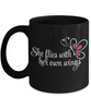 She Flies With her Own Wings Black Mug Gift Inspirational Daughter Birthday Graduation Cup