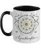 Granddaughter In Loving Memory Mug Memorial Turquoise Butterfly Mandala God Holds You in His Arms Mandala Two-Tone Cup