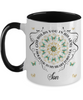 Son In Loving Memory Mug Memorial Turquoise Butterfly Mandala God Holds You in His Arms Mandala Two-Tone Cup