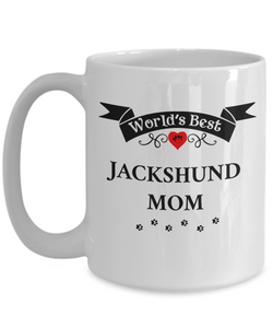 World's Best Jackshund Mom Cup Unique Ceramic Dog Coffee Mug Gifts for Women