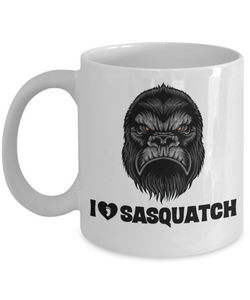 I Love Sasquatch Coffee Mug Bigfoot Lovers Cup Big Foot Hunters Gift
