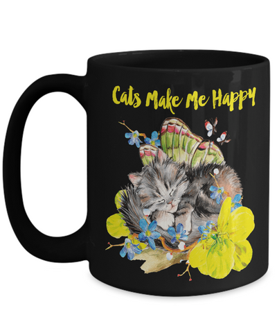 "Gift for Cat Lovers, ""Cats Make Me Happy"" Stunning flying kitten full wrap mug with three kitten images for cat ladies and guys."