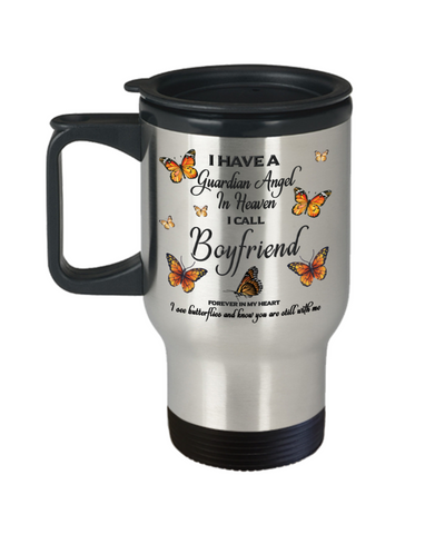 Boyfriend In Loving Memory Travel Mug With Lid Guardian Angel in Heaven Monarch Butterfly Gift Memorial Coffee Cup