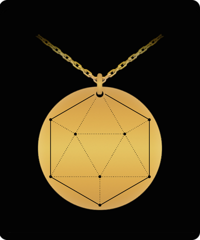 Icosahedron Pendant Sacred Geometry Laser Etched Gold Color Necklace